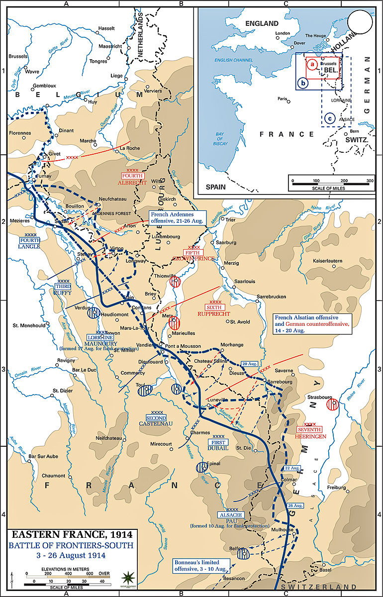 Map of the Battle of the Frontiers (South) - August 1914