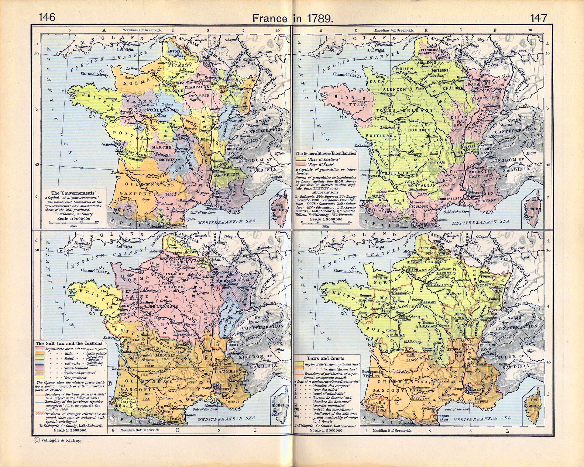 "Map of France in 1789. The ""Gouvernements"", The Generalities or Intendancies, The Salt Tax, and Laws and Courts."