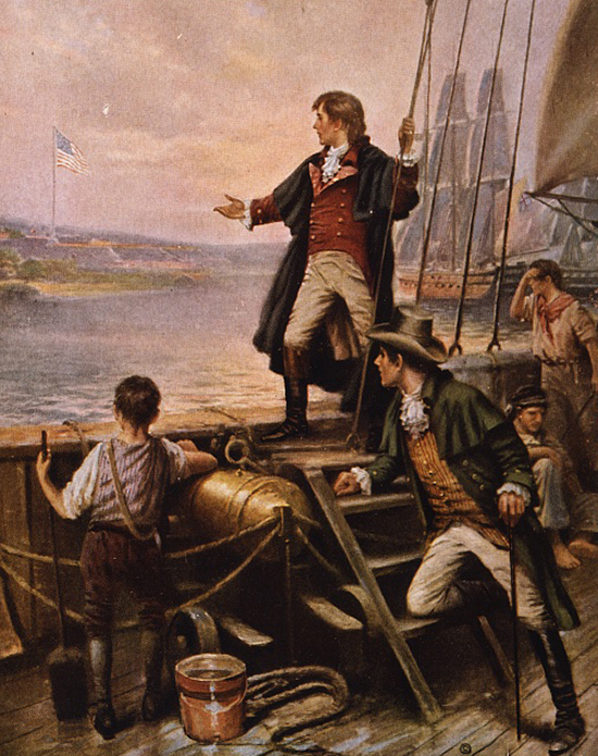 Francis Scott Key onboard watching the Star-Spangled Banner September 14, 1814