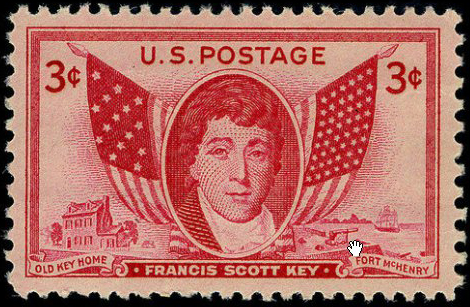 3 cent stamp honoring Francis Scott Key, issued August 9, 1948