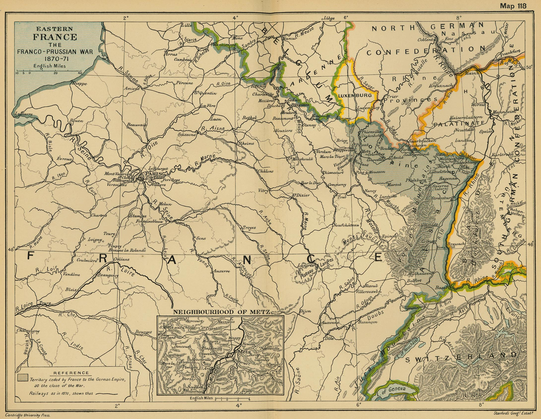 Map of Eastern France: The Franco-Prussian War 1870-1871