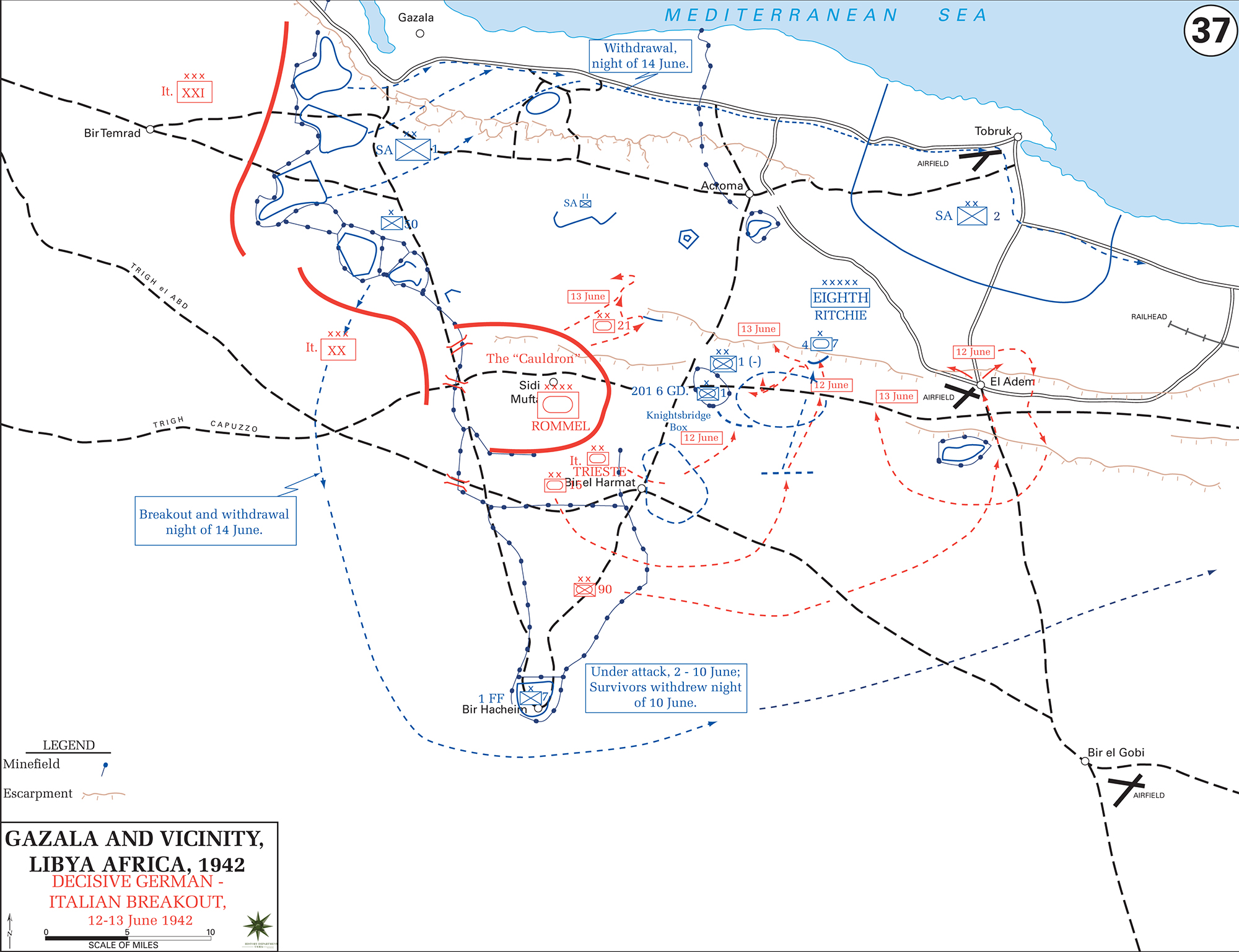 Map of WWII Gazala and Vicinity, Libya, North Africa 1942 - Decisive German-Italian Breakout June 12-13, 1942
