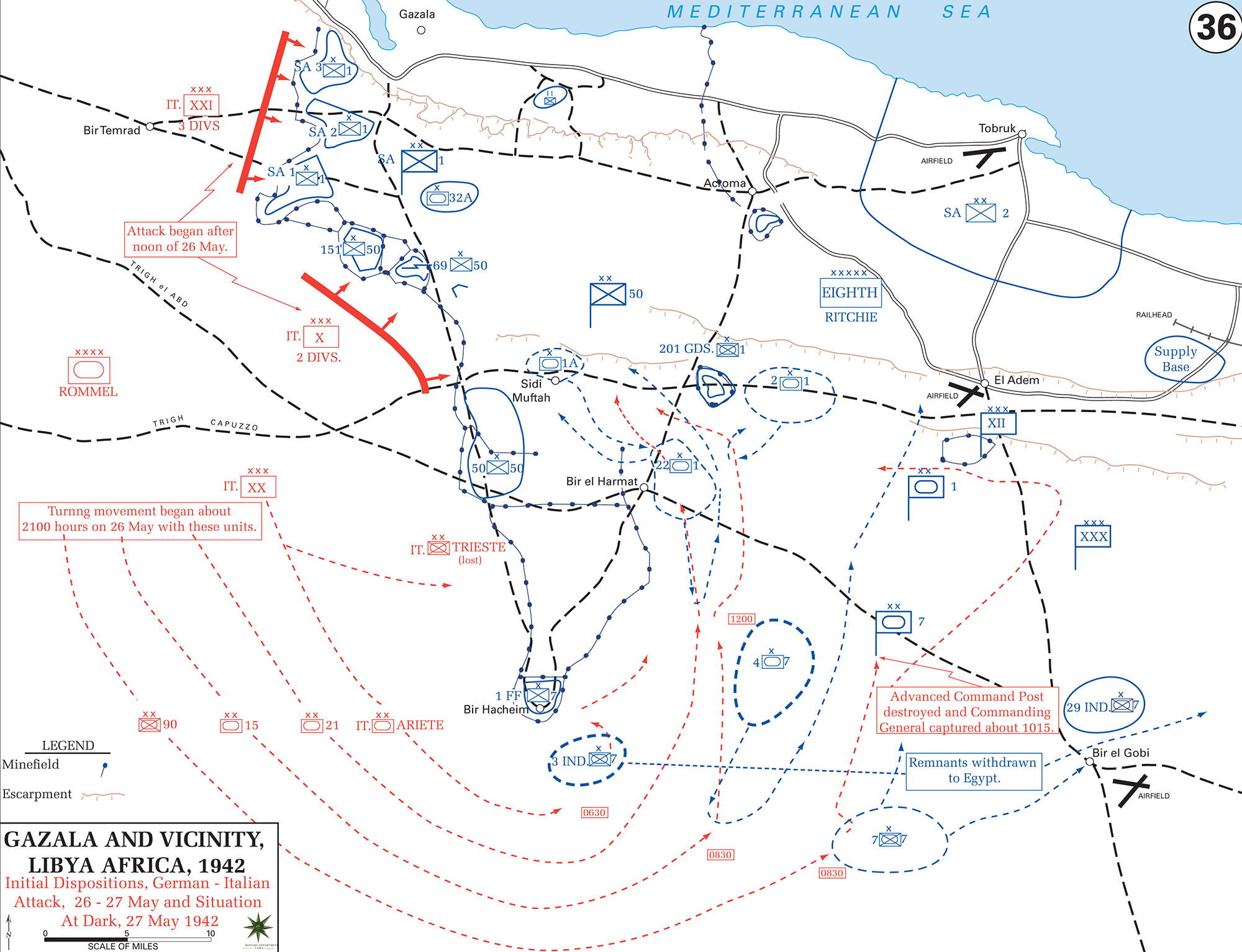 Map of WWII Gazala and Vicinity, Libya, North Africa 1942 - German-Italian Attack May 26-27, 1942