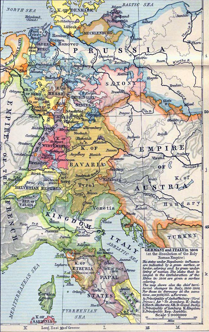 Map of Germany and Italy in 1806