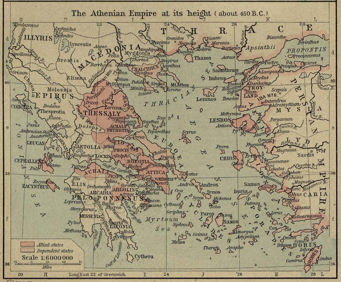 Map of the Athenian Empire 450 BC