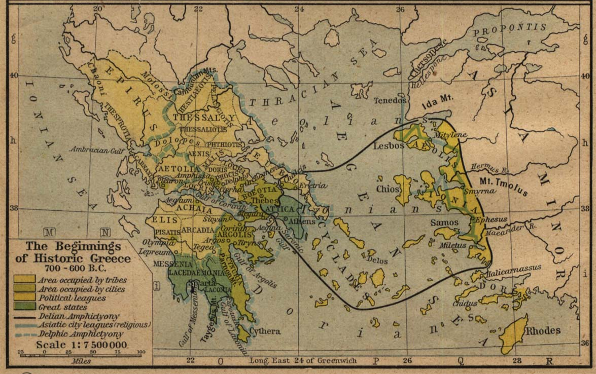Map of the Beginnings of Historic Greece 700-600 BC