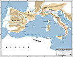 Hannibal's Invasion Route 218 BC - Map