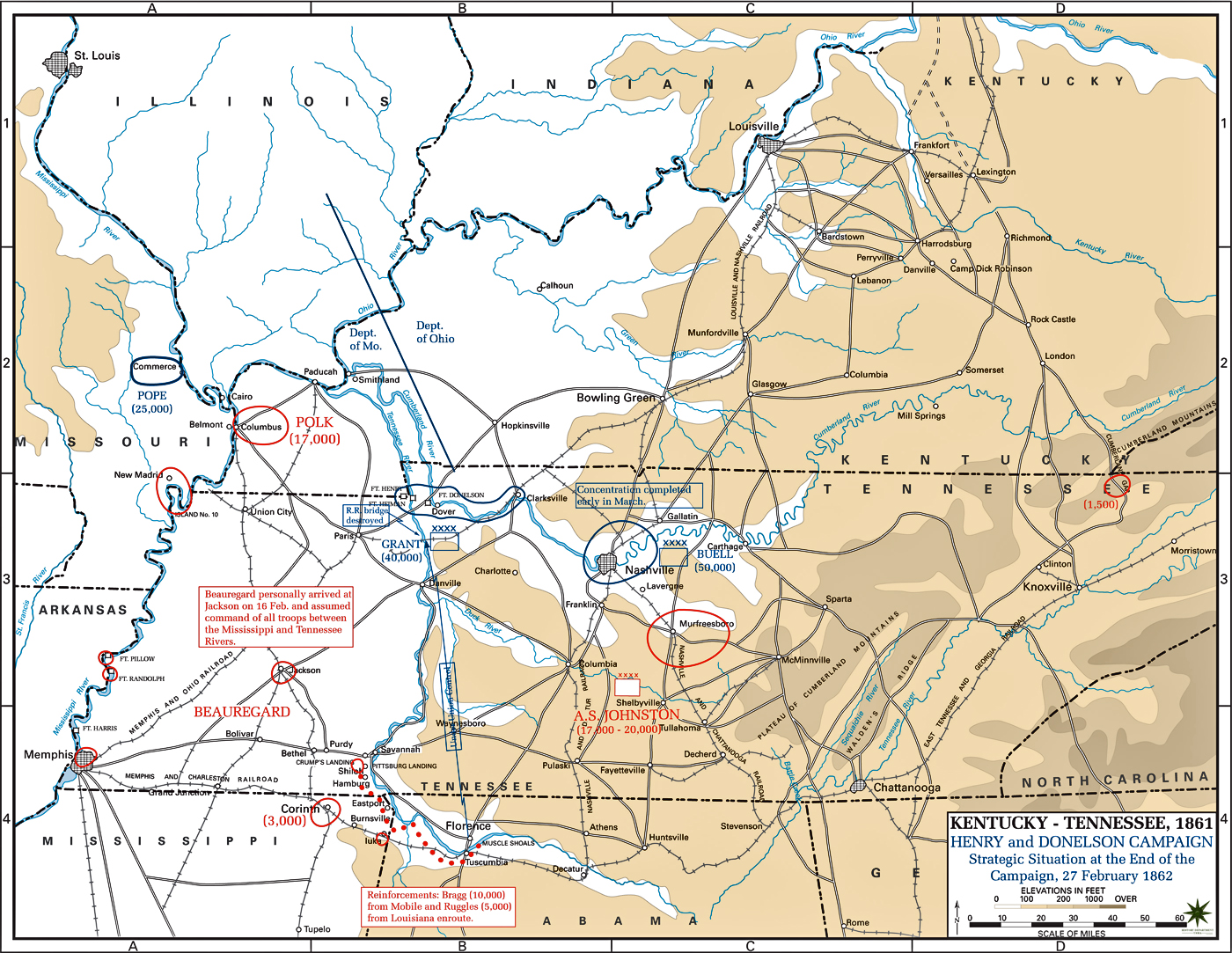 Map of the Henry and Donelson Campaign: February 27, 1862