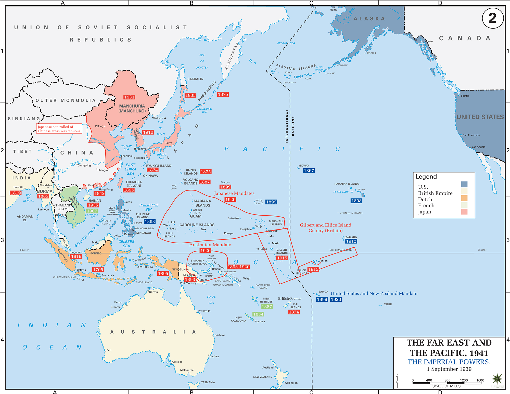 Map of World War II: The Far East and the Pacific. The Imperial Powers, September 1, 1939.
