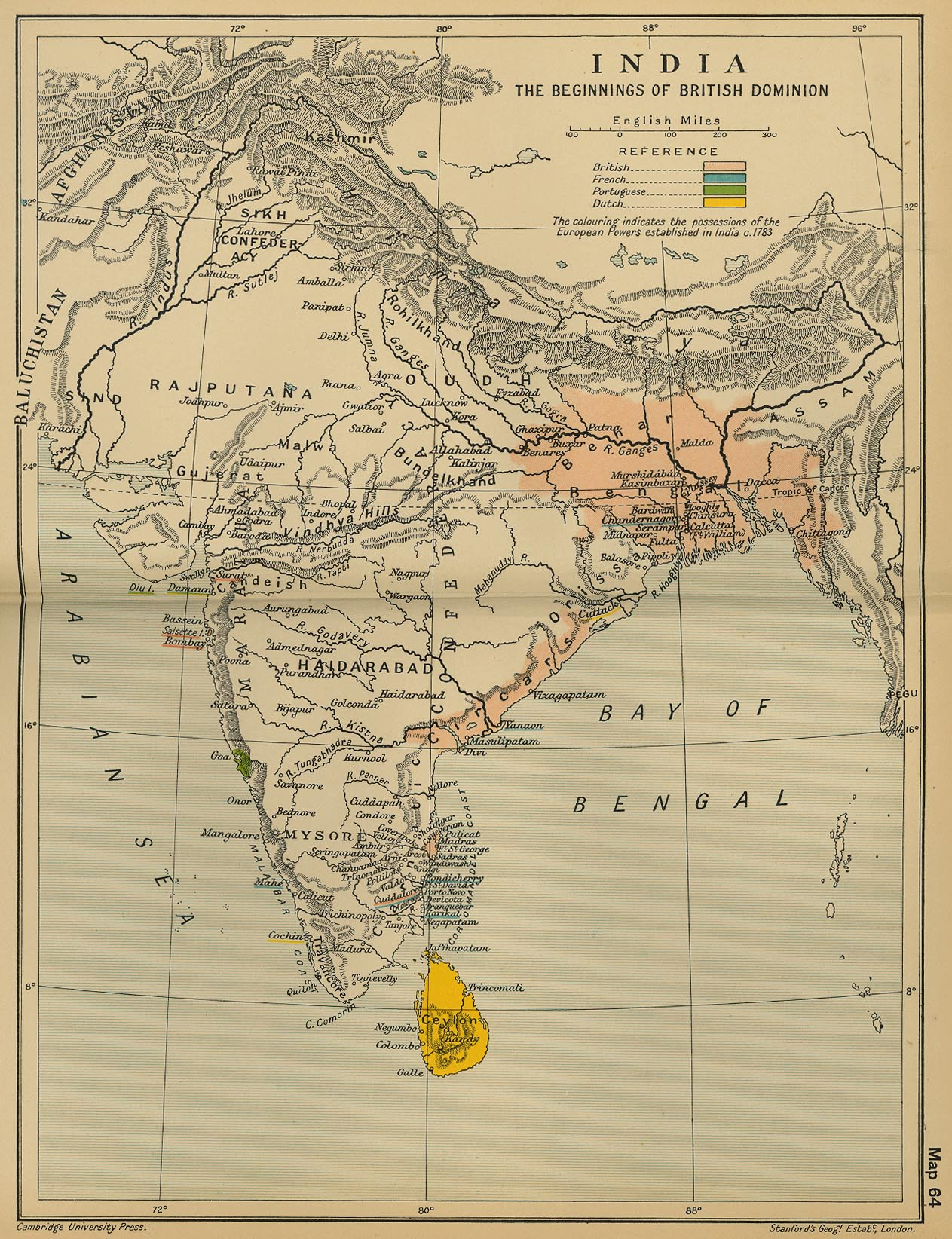 Map of India 1783: The Beginnings of the British Dominion