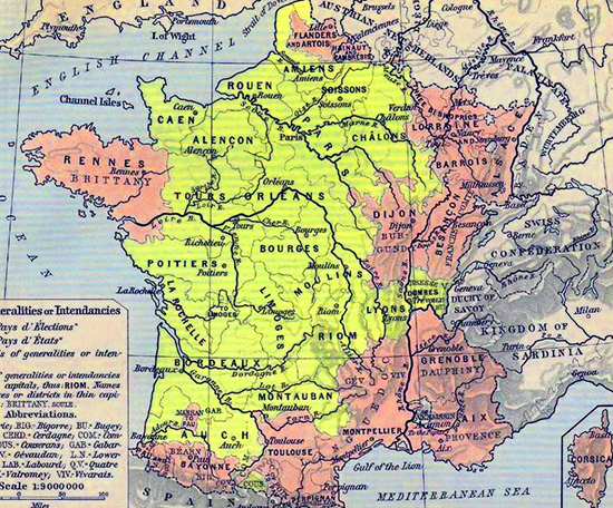 Map of the Généralités or Intendancies, France in 1789