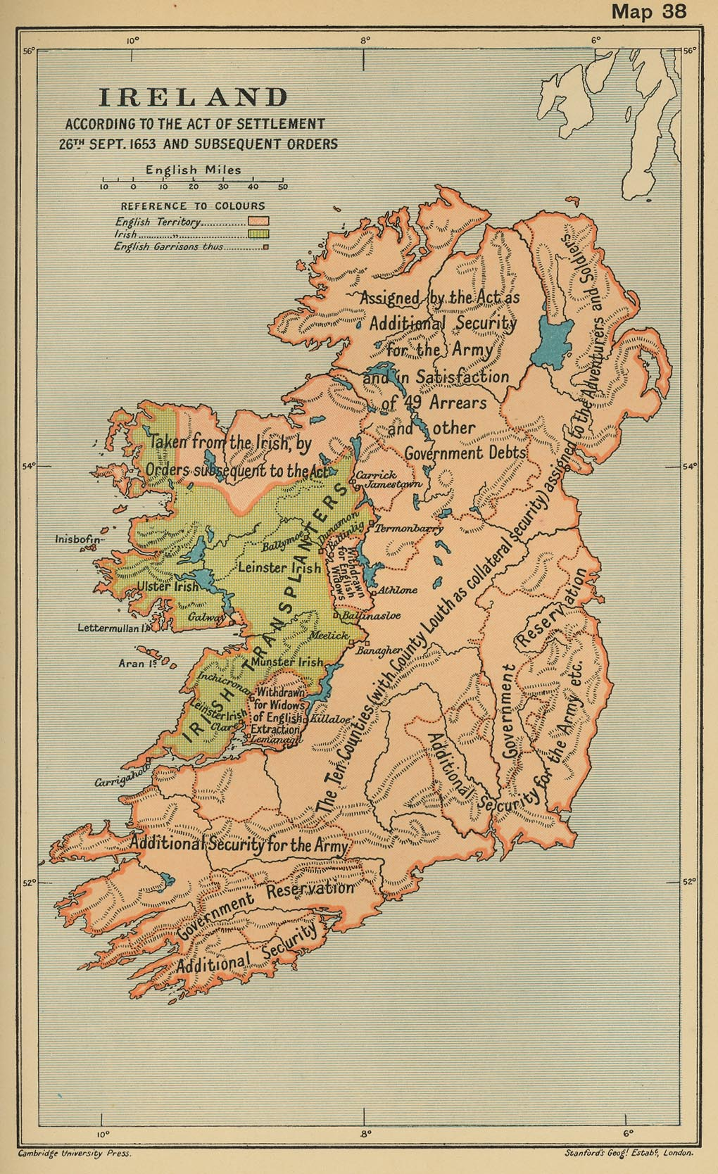 Map of Ireland According to the Act of Settlement September 26, 1653 and Subsequent Orders
