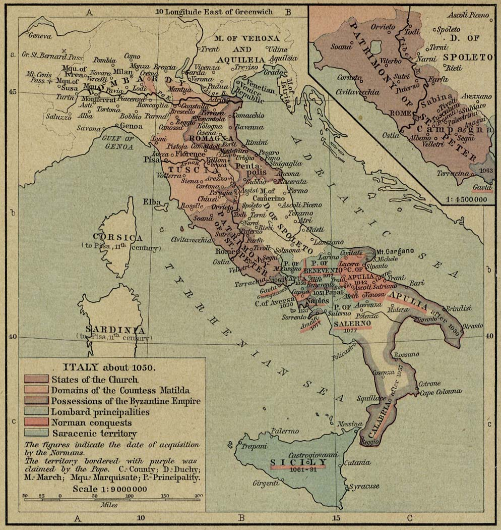 Map of Italy about 1050