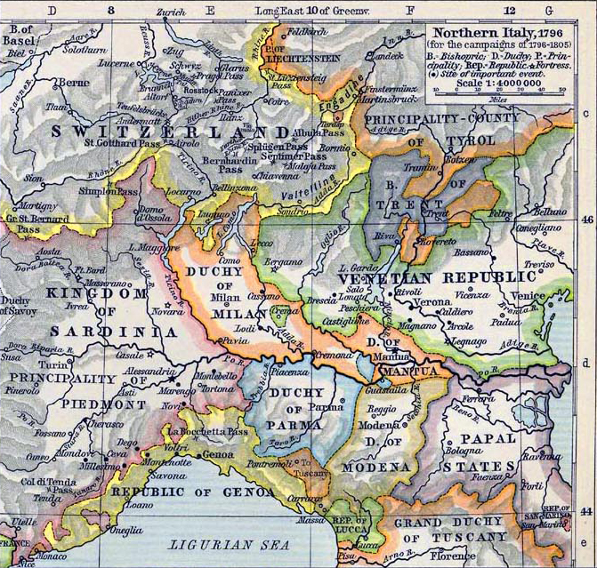 Map of Northern Italy 1796-1805