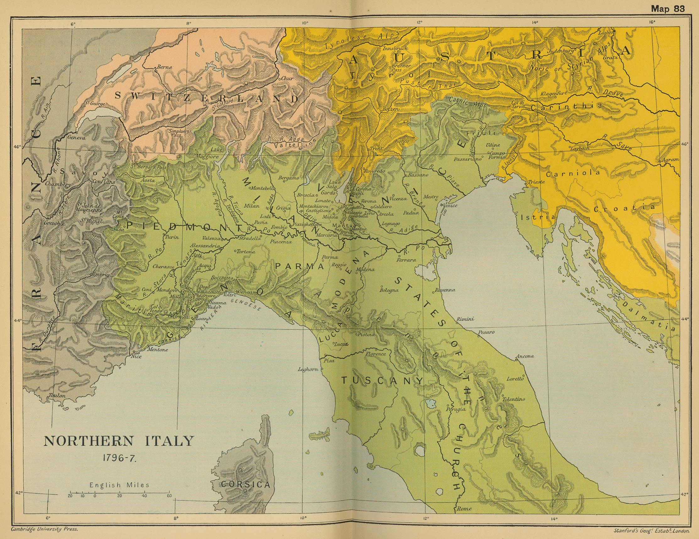 Map of Northern Italy 1796-1797