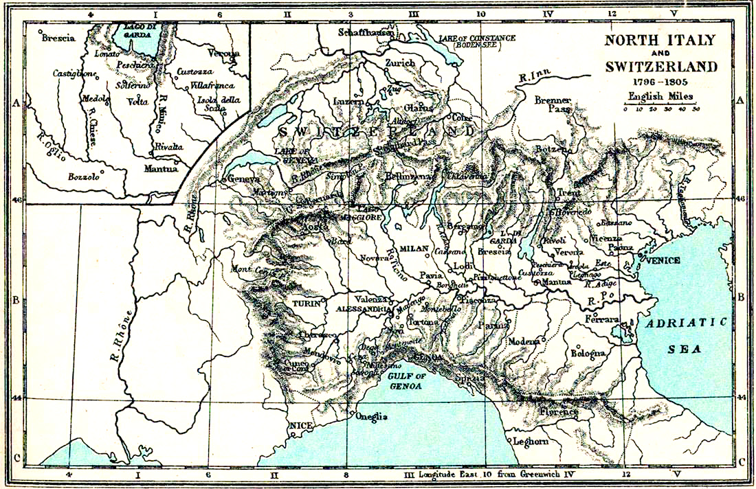 Map of Northern Italy and Switzerland 1796-1805