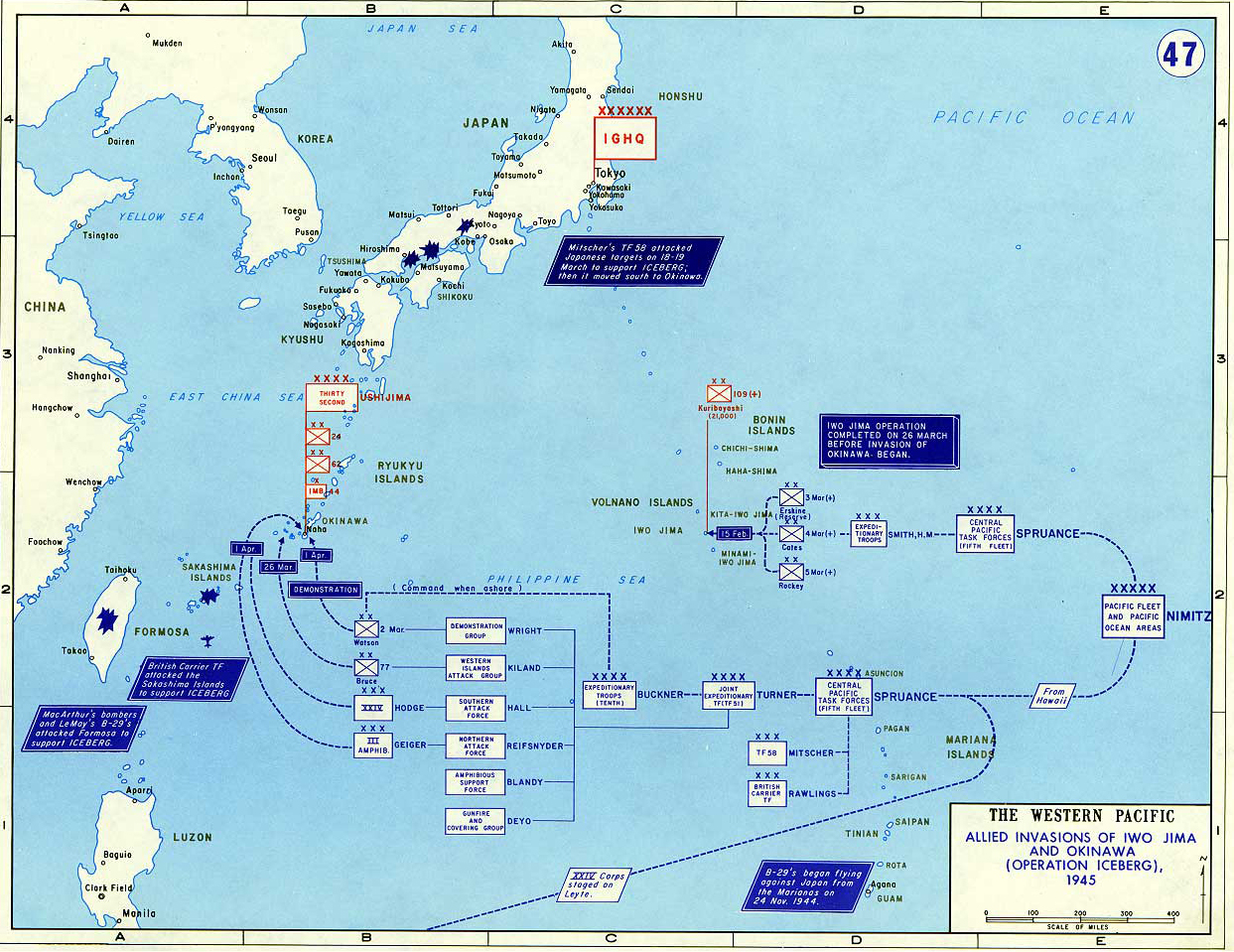 Map of World War II: The Western Pacific 1945. Allied Invasions of Iwo Jima and Okinawa (Operation Iceberg) 1945.