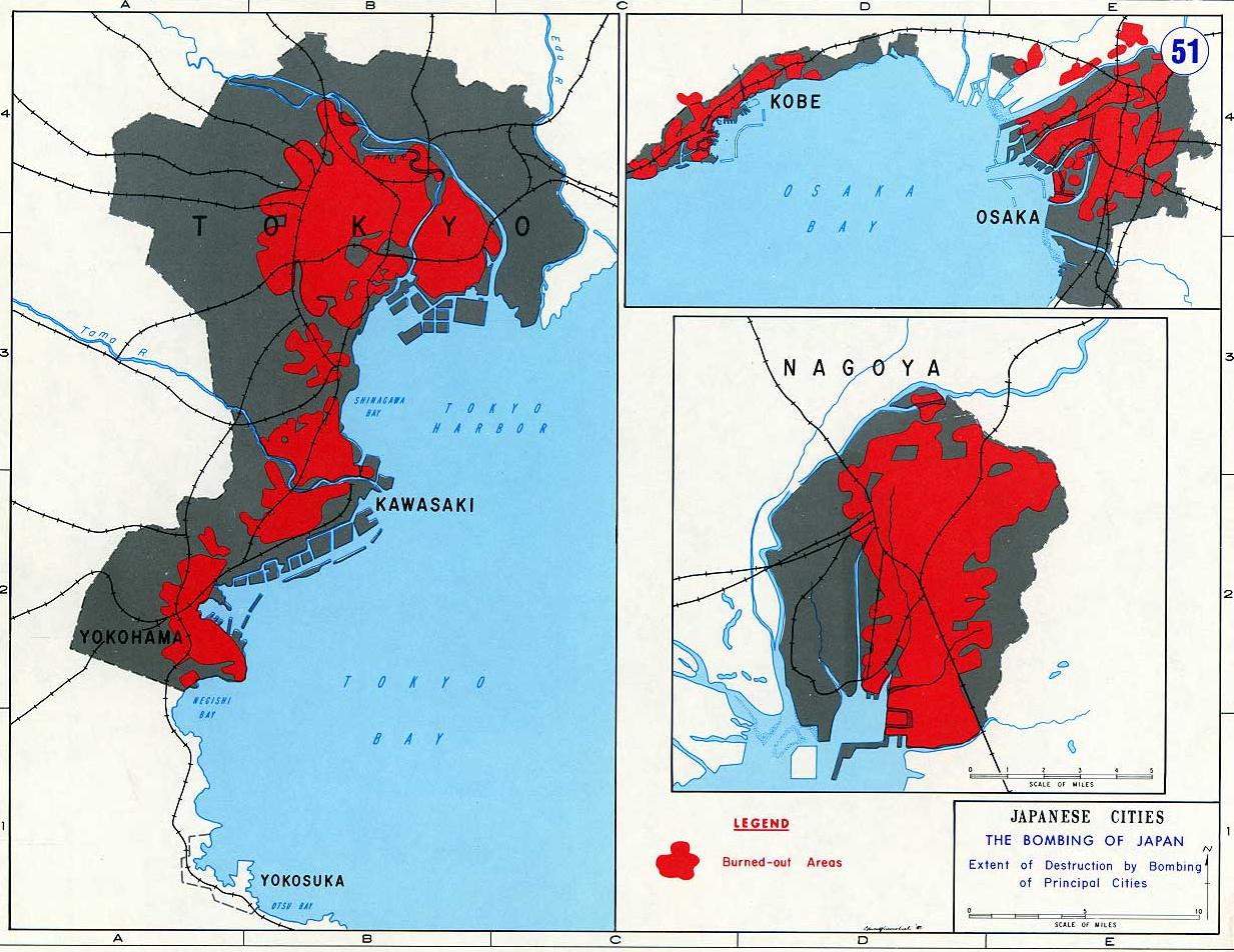 Map of World War II: Japan 1945. The Bombing of Japanese Cities. Extent of Destrution by Bombing of Principal Cities.