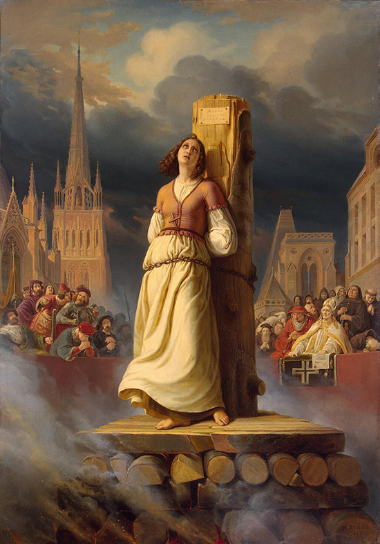 Joan of Arc's Death at the Stake, Oil on canvas by Hermann Anton Stilke, 1843, State Hermitage Museum