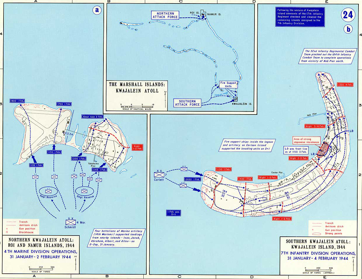 Map of World War II: The Pacific. The Marshall Islands: Kwajalein Atoll February 1944.