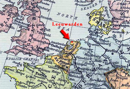 Map Location of Leeuwarden, Netherlands - Historical Map of Europe in 1911