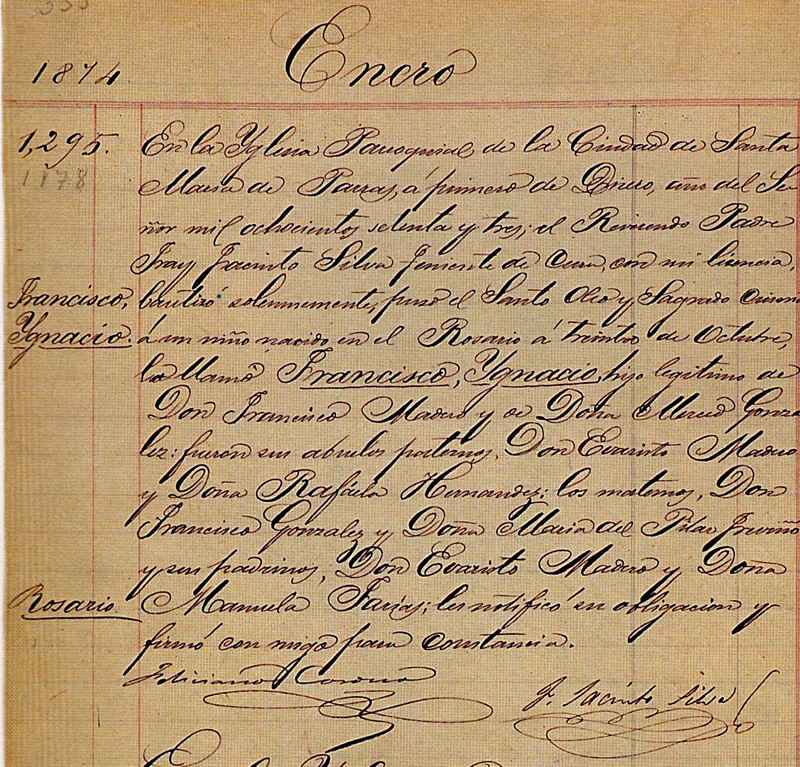 Birth certificate of Francisco I. Madero