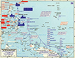 Map of World War II: The Western Pacific. New Guinea, and the Philippine Islands.  Invasion of Leyte, The Battle of Leyte Gulf, October 1944.