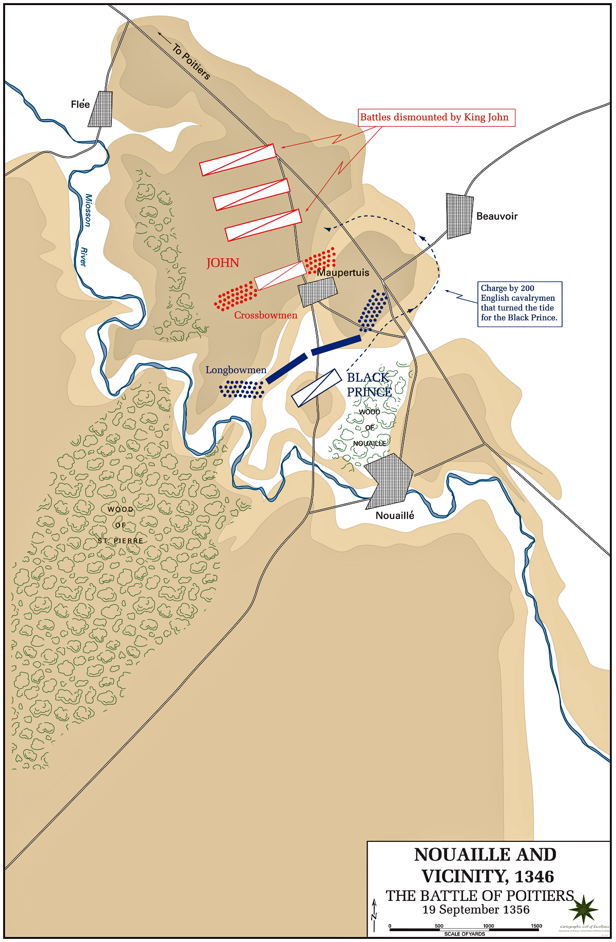 Map of the Battle of Poitiers - September 19, 1356
