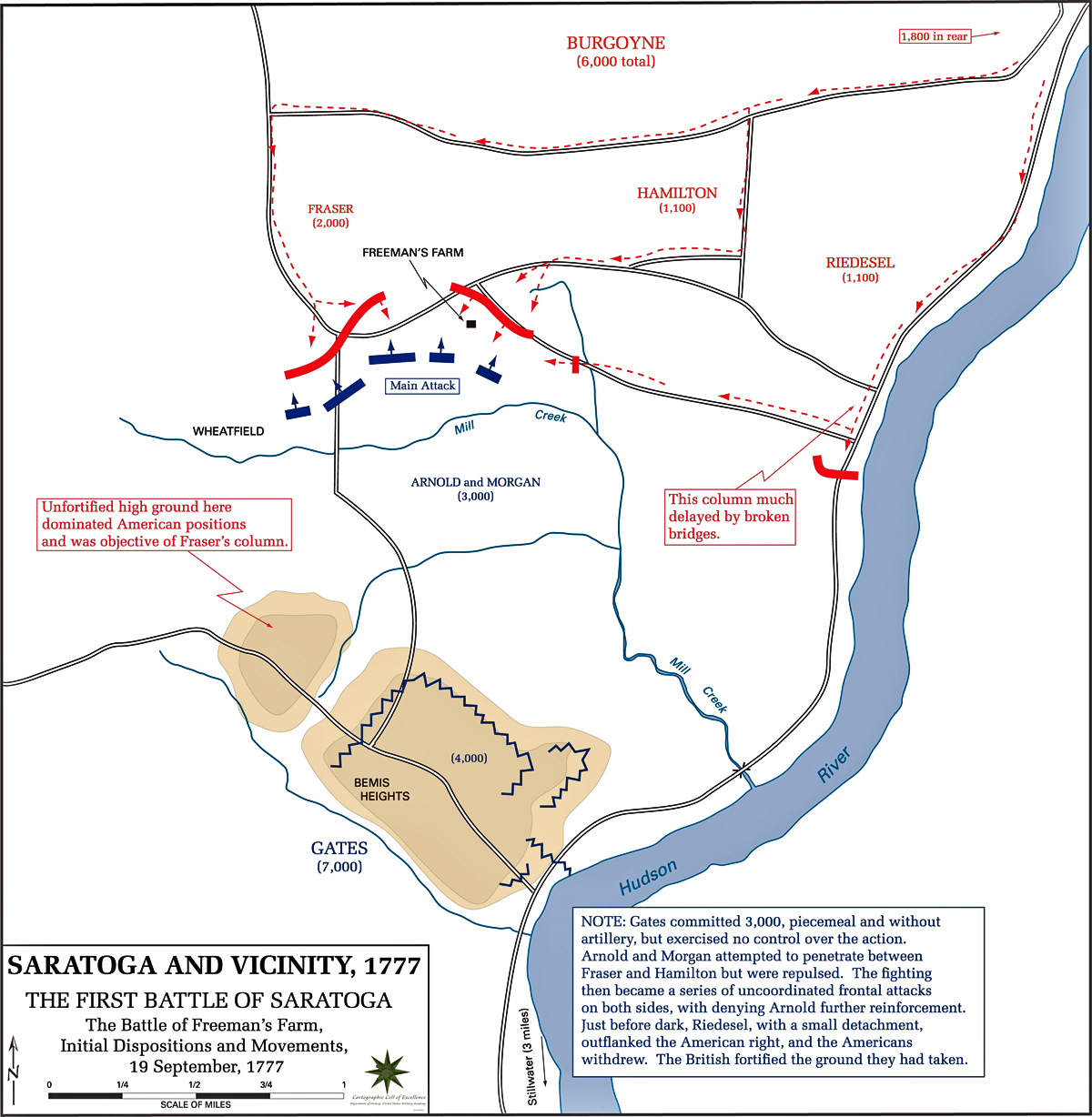 Map of the First Battle of Saratoga - Initial Dispositions - September 19, 1777