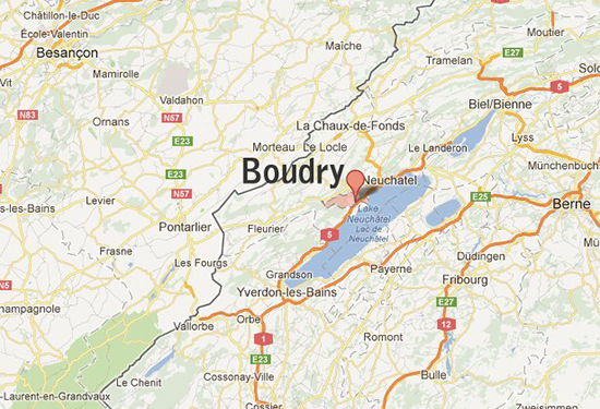 Map Location of Boudry, Switzerland