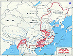 Map of World War II: China 1944. Operation ICHIGO, April - December 1944. Situation December 31, 1944.