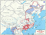 Map of World War II: China 1945. Operation ICHIGO. Final Operations in the War.
