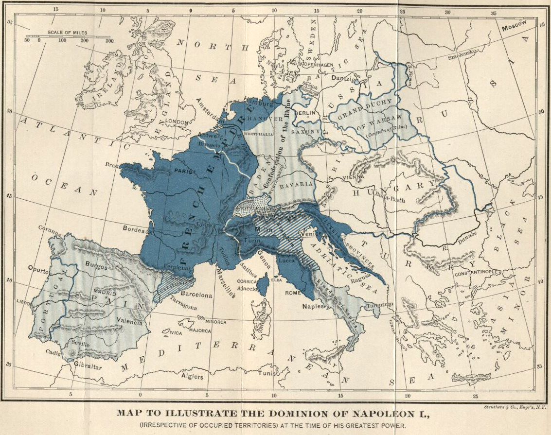 Map of Europe 1810 - the Dominion of Napoleon I (irrespective of occupied territories) at the time of his greatest power.