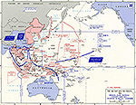 Map of World War II: Far East and the Pacific. Original Allied Strategic Concept, May 1943, and Situation in the Pacific November 1, 1943.