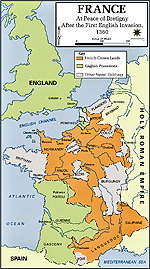 Map of France 1360