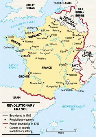 Map of Revolutionary France 1789 and 1793