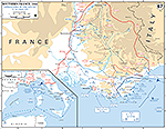 Map of WWII: Western Europe. Invasion of Southern France. Operations August 15-28, 1944.