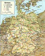 Map of Germany 1994. Relief. International and state boundaries.