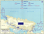 Map of World War II: The Pacific. Netherlands New Guinea, Invasion of Hollandia, 1944.