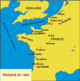 Map of France in 1453, Time of the Hundred Years' War