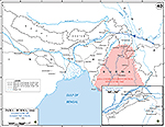Map of WWII: India and Burma. Allied Line of Communications 1942-1943.