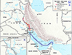 History Map of the Iran - Iraq War, 1980-1988.