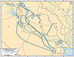 History Map of Iraq 2003. Southern Iraq and Vicinity, The Isolation of Baghdad, March 29 - April 7, 2003.