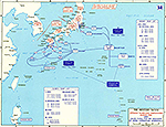 Map of World War II: The Western Pacific. Japanese Homeland Dispositions August 1945. Allied Plans for the Invasion of Japan (Operation Downfall).