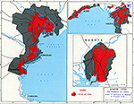 Map of World War II: Japan 1945. The Bombing of Japanese Cities. Extent of Destruction by Bombing of Principal Cities.