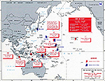 Map of World War II: The Far East and the Pacific. Operations of the Japanese First Air Fleet December 7, 1941 - March 12, 1942.