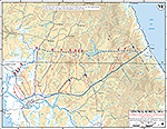Map of the Korean War: Central Korea. Communist Spring Offensive (First Impulse), Situation on April 30, 1951, Operations Since April 22, 1951, Probing Attacks by U.N. Forces, May 1 - 10, 1951.