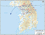 Map of the Korean War: South Korea. U.N. Counter-Offensive, Situation April 22, 1951, Operations Since January 25, 1951.