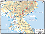 Map of the Korean War: North Korea. U.N. Advance to the Yalu River, Situation November 24, 1950, Operations Since October 26, 1950.