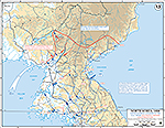 Map of the Korean War: North Korea. U.N. Advance to the Yalu River, Initial Chinese Counter-Attack, Situation October 26, 1950, Operations Since October 7, 1950.